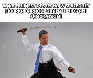 Barack Obama z mieczami samurajskimi