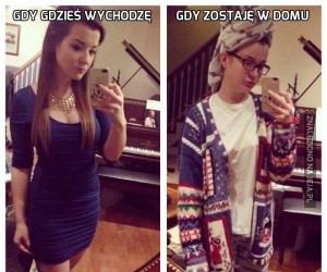 Dziewczyny w towarzystwie i w domu