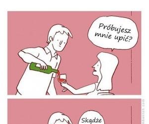 Lampka wina z dziewczyną