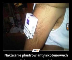 Naklejanie plastrów antynikotynowych