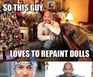 Ten facet kocha przemalowywać lalki