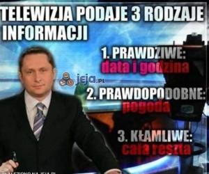 Telewizja podaje 3 rodzaje informacji
