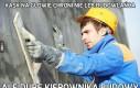 Kask na głowie chroni nie łeb budowlańca