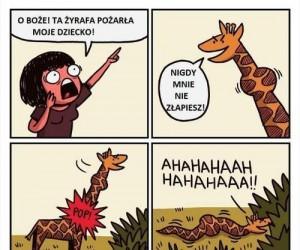 Ta żyrafa pożarła moje dziecko!