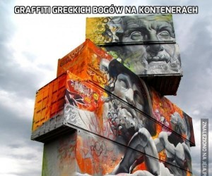 Graffiti greckich bogów na kontenerach