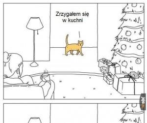 Kot też zostawił prezent