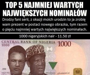 Top 5 najmniej wartych największych nominałów