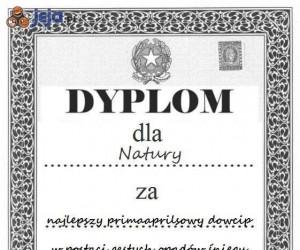 Zasłużony dyplom dla matki natury
