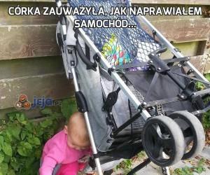 Córka zauważyła, jak naprawiałem samochód...