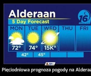 Pięciodniowa prognoza pogody na Alderaanie