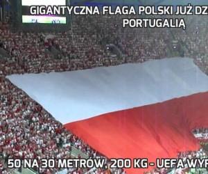 Gigantyczna flaga Polski już dziś na meczu z Portugalią