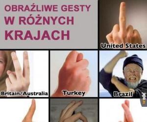 Obraźliwe gesty na świecie