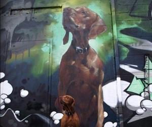 Psiak bohaterem murala