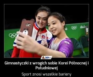 Gimnastyczki z wrogich sobie Korei Północnej i Południowej