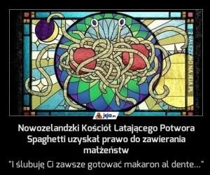 Nowozelandzki Kościół Latającego Potwora Spaghetti uzyskał prawo do zawierania małżeństw