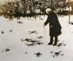 Zdjęcie z przyszłości. Karmienie bezdomnych dronów