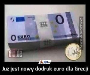 Już jest nowy dodruk euro dla Grecji