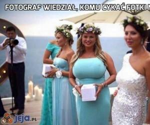 Fotograf wiedział, komu cykać fotki na ślubie