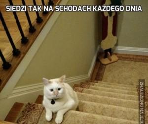 Siedzi tak na schodach każdego dnia