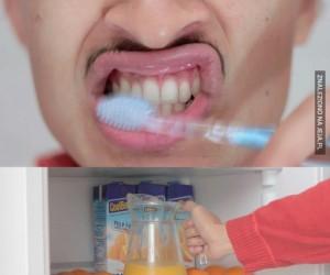 Pasta do zębów i sok pomarańczowy