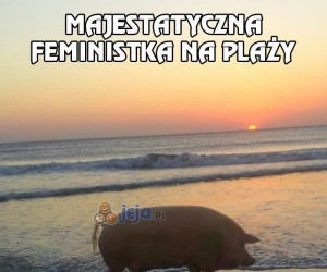 Majestatyczna feministka na plaży