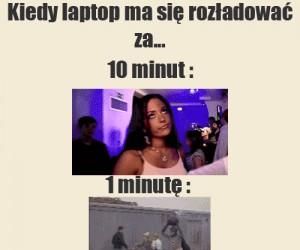 Kiedy laptop ma się rozładować za...