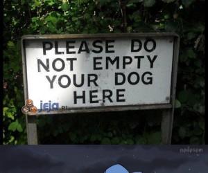 Proszę nie wypróżniać tu swojego psa