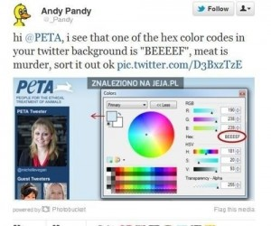 "PETA i ""mięsny"" kolor"