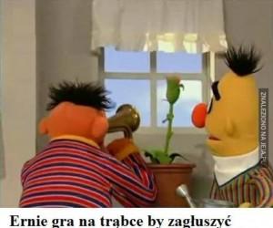 Ernie i gra na trąbce