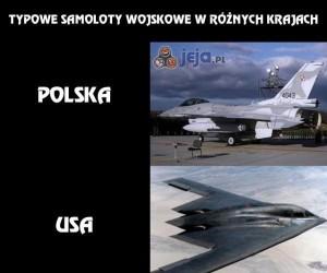 Typowe samoloty wojskowe w różnych krajach