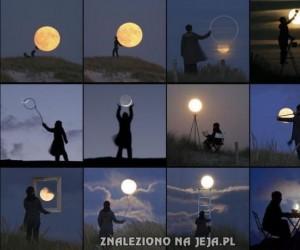 Kreatywne zdjęcia z księżycem w tle