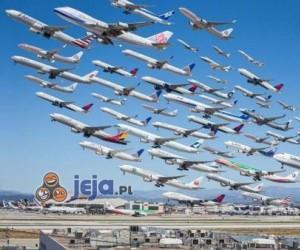 Odloty samolotów z jednego lotniska w ciągu 8 godzin