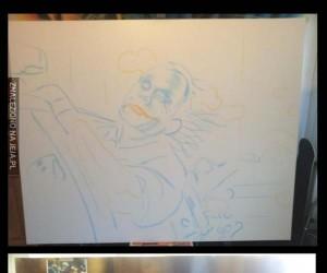 Własnoręcznie namalowany kadr z filmu