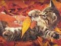 Kotek w liściach