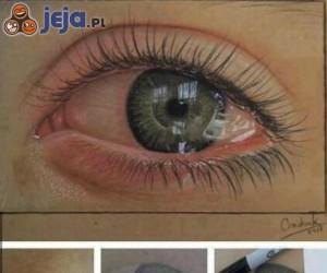 Oko malowane kredkami