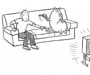 Samolubna świnia - Świnia i telewizor