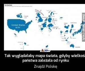 Tak wyglądałaby mapa świata, gdyby wielkość państwa zależała od rynku