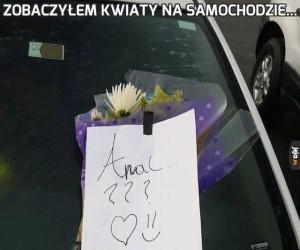 Zobaczyłem kwiaty na samochodzie...