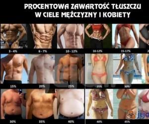 Procentowa zawartość tłuszczu w ciele mężczyzny i kobiety