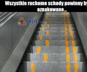 Znakowanie schodów ruchomych