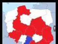 Populacje Australii (na czerwono) i Nowej Zelandii (niebieski) naniesione na polskie województwa