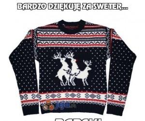Bardzo dziękuję za sweter...