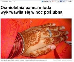 8-letnia panna młoda wykrwawiła się w noc poślubną