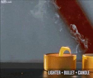 Pocisk trafia w zapalniczkę stająca obok świeczki