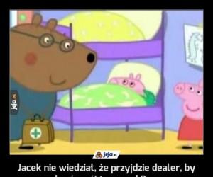 Jacek nie wiedział, że przyjdzie dealer, by zabrać swój towar od Peppy