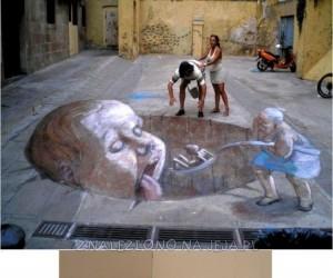 Iluzja na chodniku i ścianie