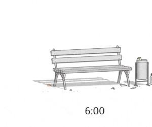 Cykl dobowy ławki w parku