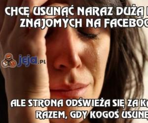 Chcę usunąć naraz dużą liczbę znajomych na Facebooku