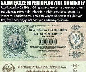 Największe hiperinflacyjne nominały