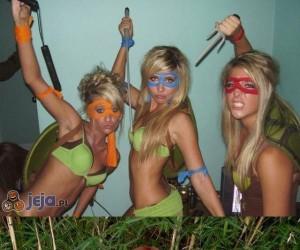 Dziewczyny w przebraniach z Żółwi Ninja